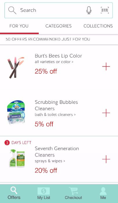 Cartwheel Recommends Offers Just For You